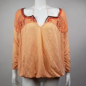 FREE PEOPLE Orange  Sequin Blouse Size Large